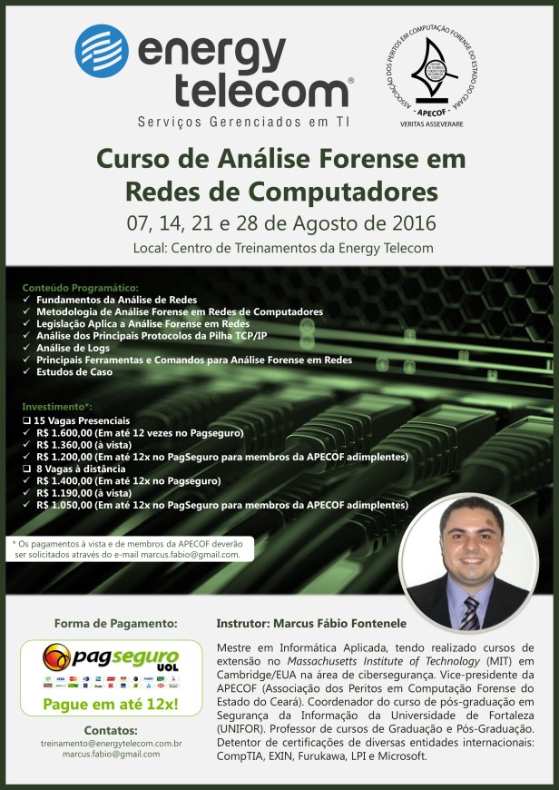 Curso - Computação Forense em Redes (Agosto)